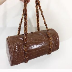 Studio 33 Faux Leather Sweet Barrel Bag Brown